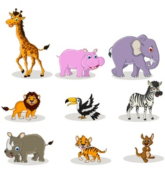 Animal wildlife cartoon collection vector