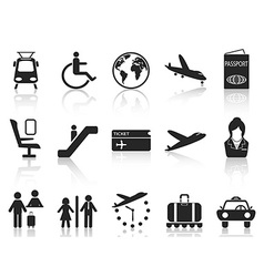 Airport and travel icons set vector