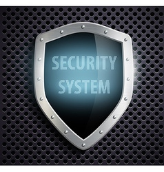 Metal shield with the inscription security system vector
