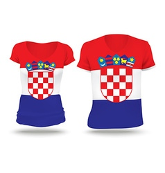 Flag shirt design of croatia vector