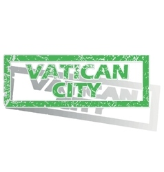 Green outlined vatican city stamp vector