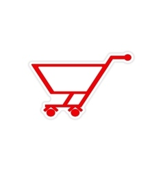Icon sticker realistic design on paper trolley vector