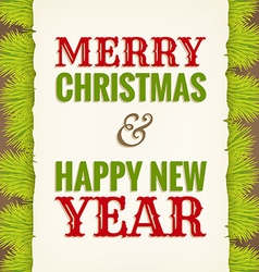 Christmas greeting on old paper with fir in vector
