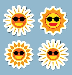 Sun wearing sunglasses icon set vector
