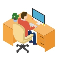 Isometric people at the workplace vector