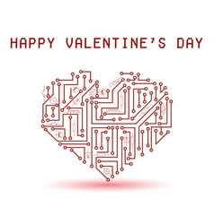 Printed red electrical circuit board heart for vector