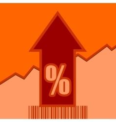 Percent sign on grow up arrow and bar code vector