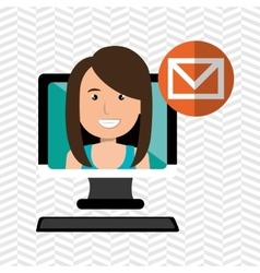 Social marketing user desktop computer isolated vector