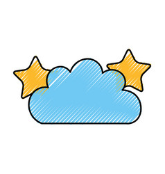 Beautiful fantasy cloud with stars vector