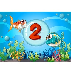 Card number two with 2 fish underwater vector