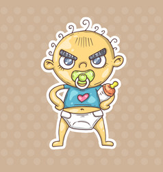 cartoon angry baby vector image vector image