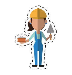 Cartoon woman construction with brick and spatula vector