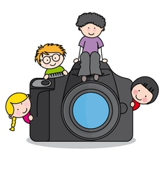 children with a camera vector image