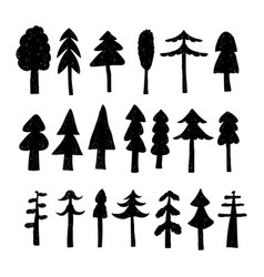 christmas tree set in hand drawn style vector image