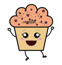 Delicious and sweet cupcake kawaii character vector