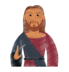 Drawing jesus christ catholic symbol design vector