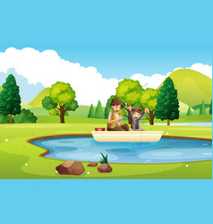 father and son fishing in the pond vector image vector image