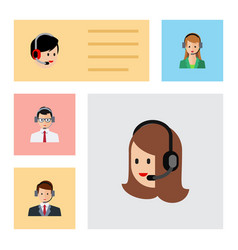 flat icon telemarketing set of service hotline vector image