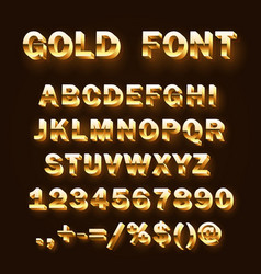 font 3d gold sign set template design element vector image
