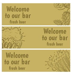 Hand drawn banners with beer in glass mug with vector