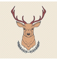 hand drawn colorful of deer and laurel vector image vector image