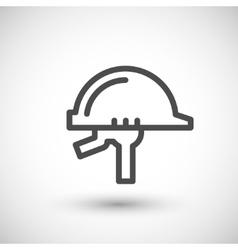 Helmet line icon vector image