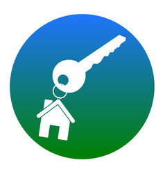 key with keychain as an house sign white vector image