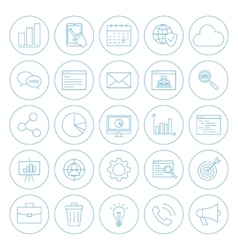 Line Circle Website Development Icons vector image