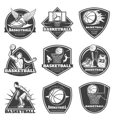 monochrome vintage basketball labels set vector image