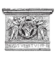 Paul ii have a lion and soldures image vintage vector