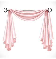 Pink curtains on the ledge forged isolated on a vector