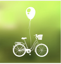 Retro bicycle with air balloon isolated on green vector