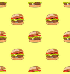 seamless pattern with hamburger or burger vector image vector image
