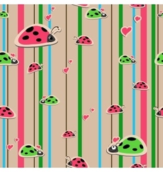 seamless wallpaper with ladybirds vector image vector image