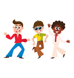 Set of cartoon style retro disco dancers black vector