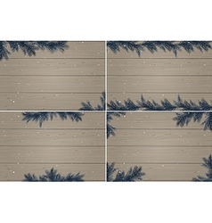 Set of four winter wooden backgrounds vector image vector image