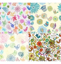 Set of seamless background with flowers and birds vector image vector image