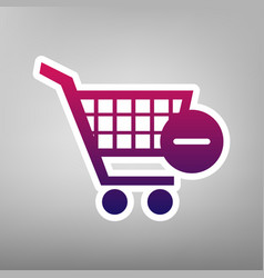 shopping cart with remove sign vector image