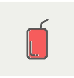 Soda can with straw thin line icon vector