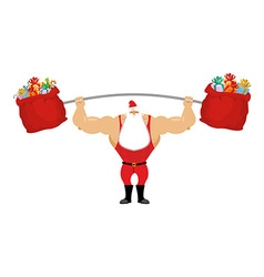 Strong Santa Claus holding barbell and gift bag vector image vector image