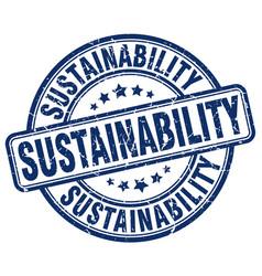 Sustainability blue grunge stamp vector