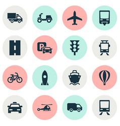 Transport icons set collection of way airship vector