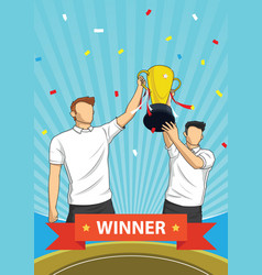 trophy sports awards and winner team people vector image vector image