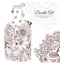 with flowers bottle Doodle vector image vector image