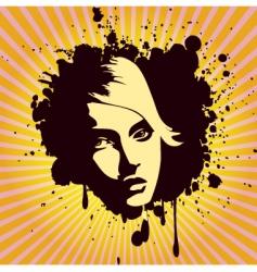 woman's portrait grunge style vector image vector image