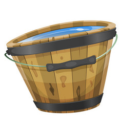 Wood bucket with water vector