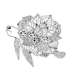 Zentangle stylized fantasy turtle vector