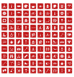 100 human health icons set grunge red vector