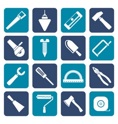 Flat construction and building tools icons vector
