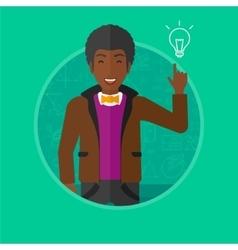 Man pointing at light bulb vector image